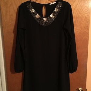 Le Lis Black Dress w/ Sequin/Beaded Collar